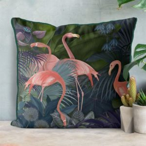 Flamingos in Blue Garden Pillow set