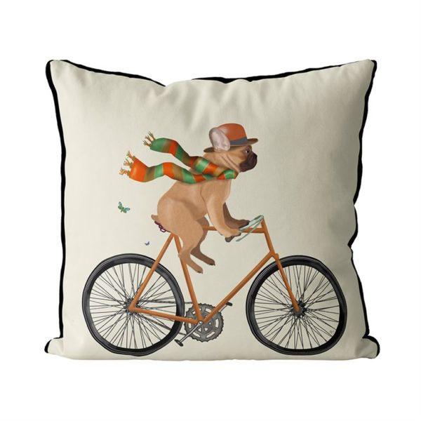 French Bulldog on bike cream