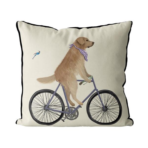 Golden Retriever on bike pillow in Cream