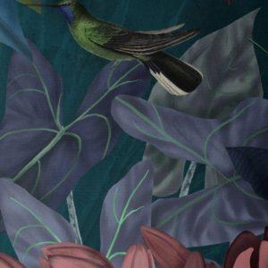 Hummingbird Garden 1 pillow closeup