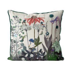 Ostrich & Wildflower Pillow front view