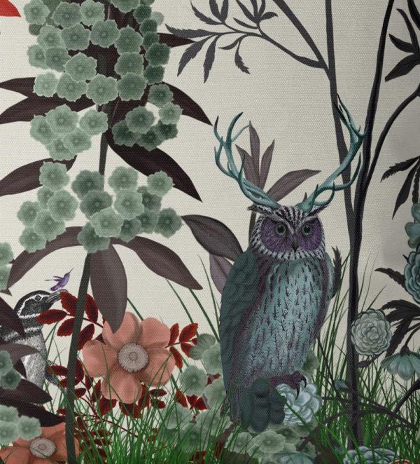 Owl Wildflower Pillow closeup