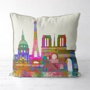 Paris Skyline in watercolor pillow
