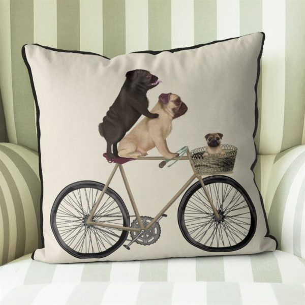 Pug Family on Bicycle pillow Cream