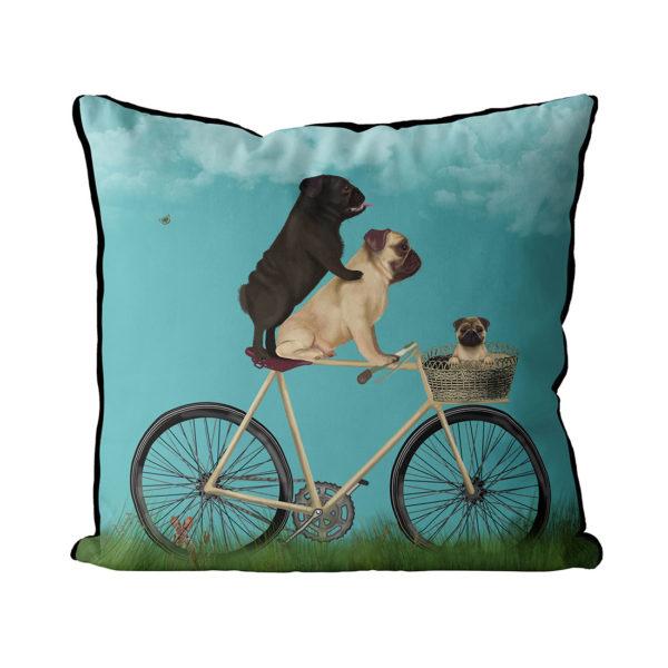 Pug Family on Bicycle pillow Sky