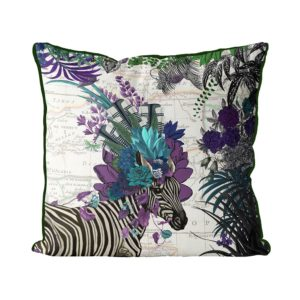 Zebra African Pillow purple front view