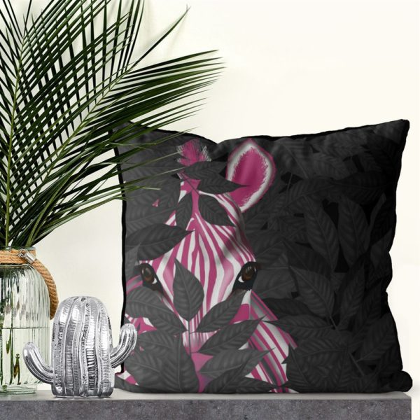 Pink Zebra in black leaves set