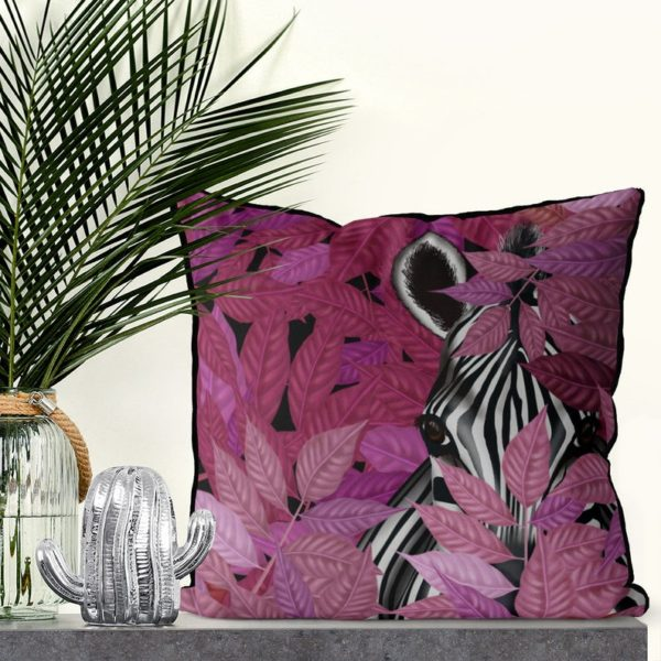 Zebra in Pink Leaves Pillow set