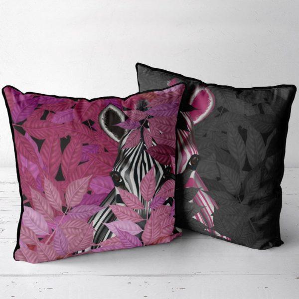 Zebra in Pink leaves and Zebra in black leaves
