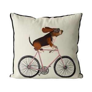 Basset Hound on Bike cream background