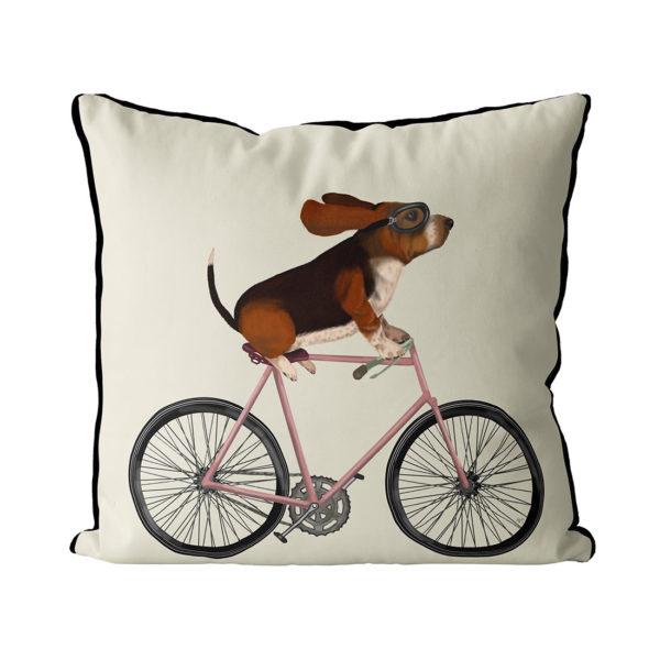 Basset Hound on Bike cream background