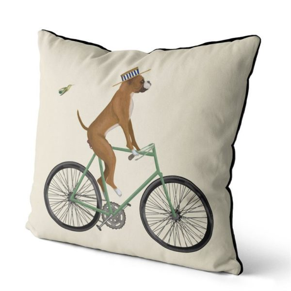 Boxer on bike pillow cream background