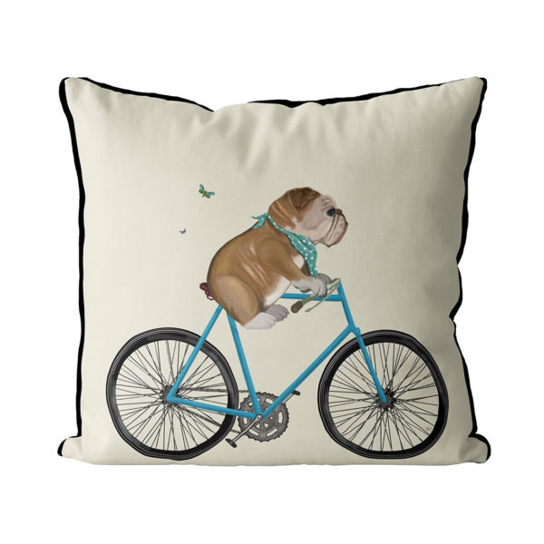 English bulldog on bicycle cream color
