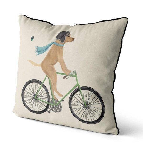 Yellow Labrador on Bike cream