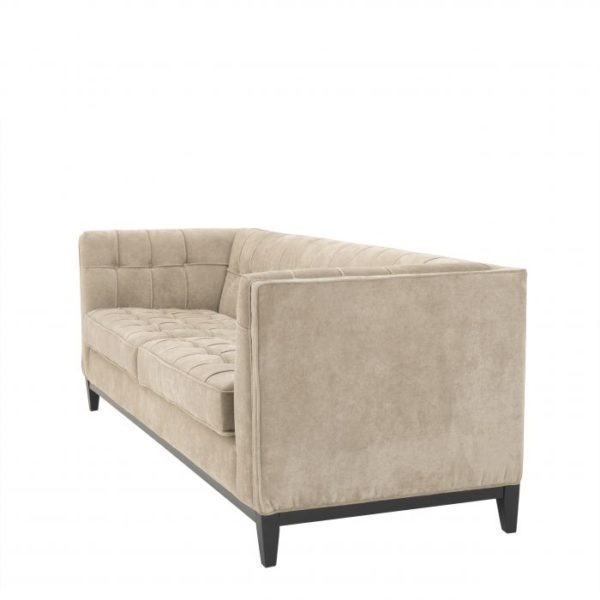 Button Stitched Griege Sofa side angle