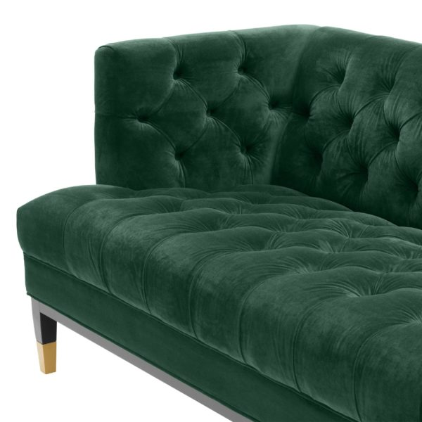 Castelle green sofa closeup of seat and inside corner
