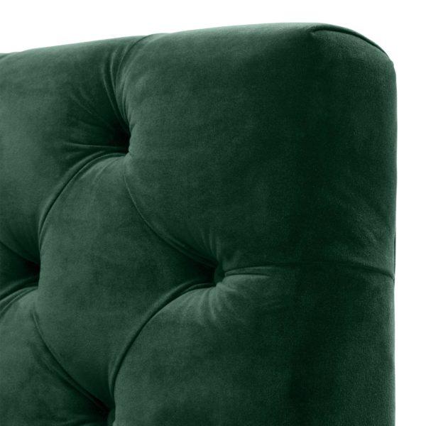 Castelle green sofa closeup of button tufts