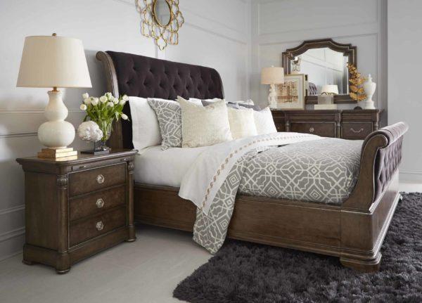 Cognac Sleigh Bed Set