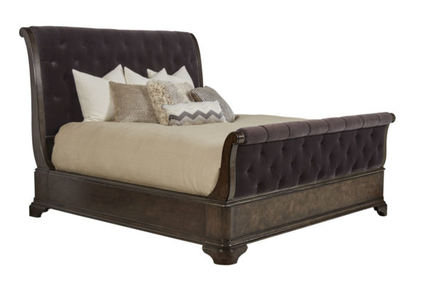 Cognac Sleigh Bed