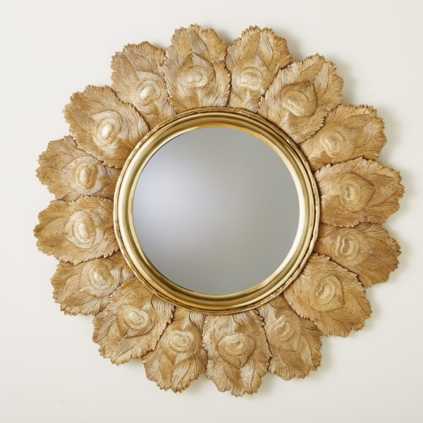 Peacock Feather Circular mirror in Brass