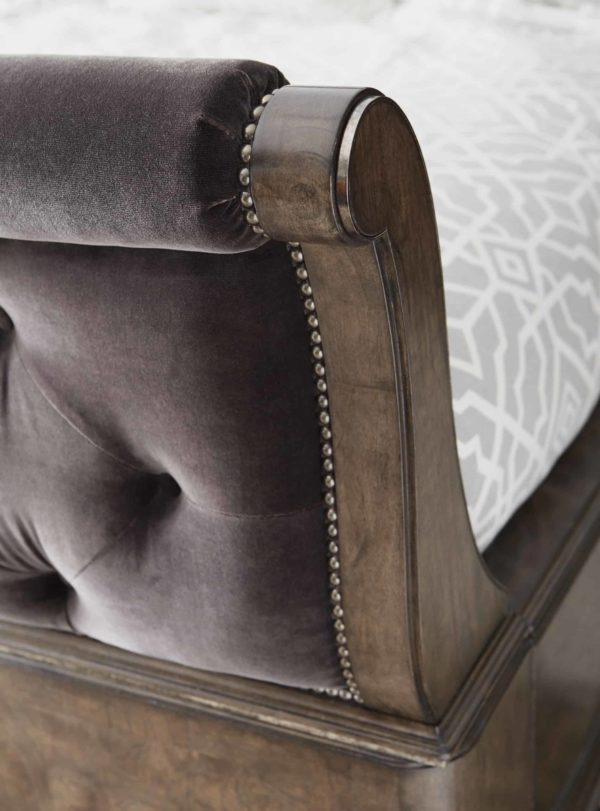 Cognac Sleigh Bed footboard closeup 1