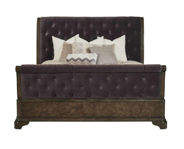 Cognac Sleigh Bed front view