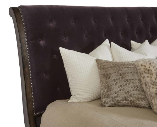 Cognac Sleigh Bed headboard closeup