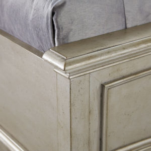 Aged Silver Bed Footboard close up