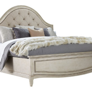 Aged Silver Upholstered Panel Bed