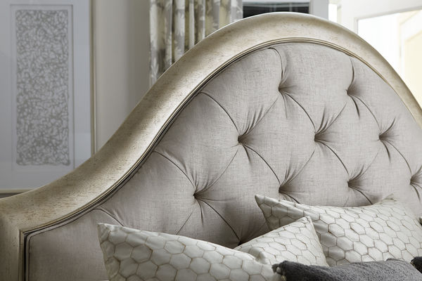 Aged Silver Upholstered Headboard closeup