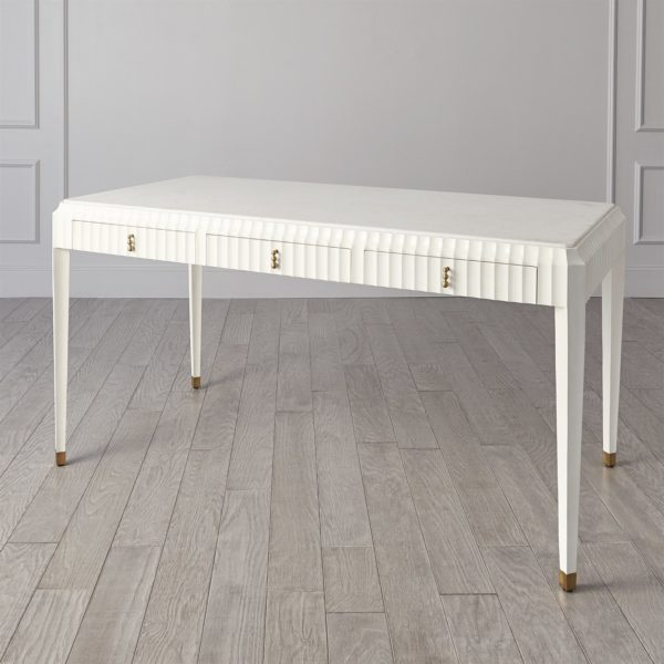 Ivory Fluted desk angle view