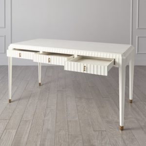 Ivory Fluted desk with 3 drawers open