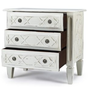 Cottage Check side chest 3 drawers open