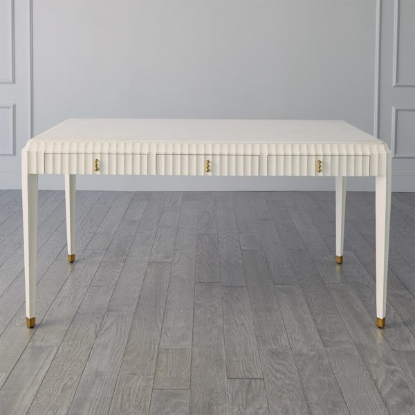 Ivory Fluted desk center view
