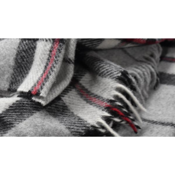 Tartan Lap Throw in grey closeup