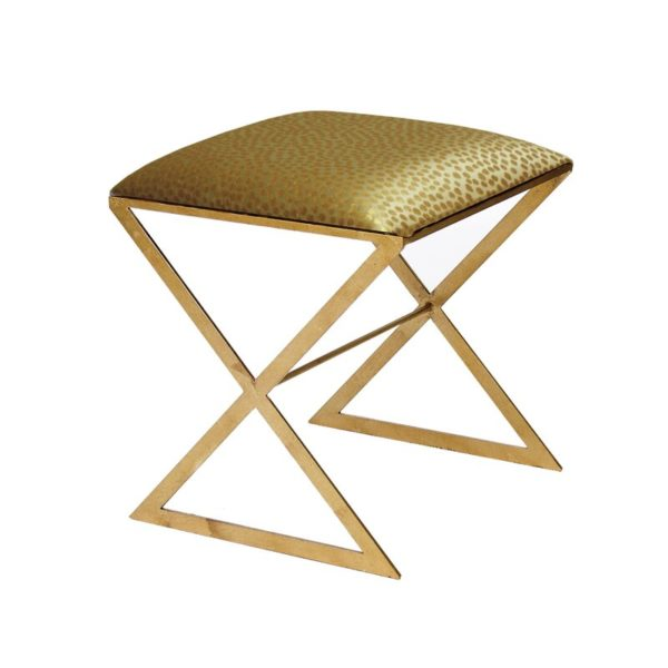X Side stool in gold dot upholstery and gold leaf legs
