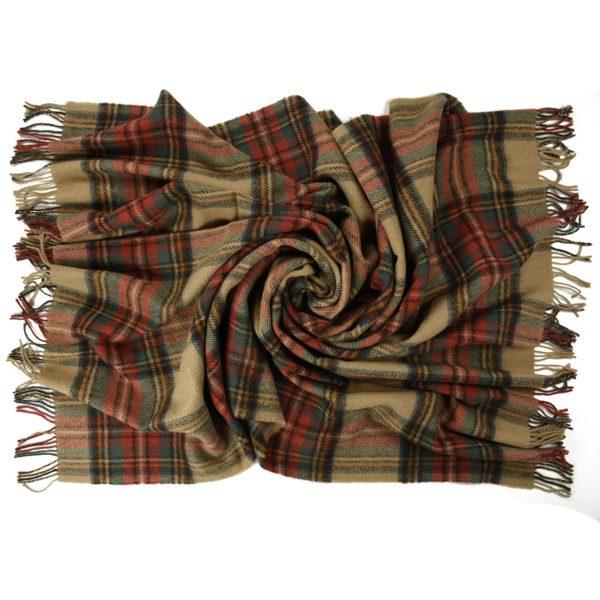 Tartan Tweed New Wool Blanket Antiqued Camel color flat view