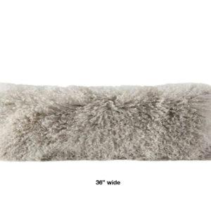 Fog Mongolian Fur pillow extra wide oblong
