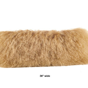 """Tuscan colored mongolian fur pillow oblong 36"""" wide."""