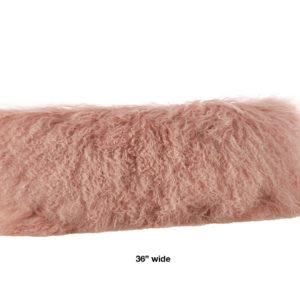 "Rose colored mongolian fur pillow oblong 36"" wide."