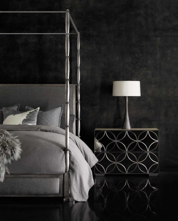 Graphite Upholstered Canopy bed lifestyle view