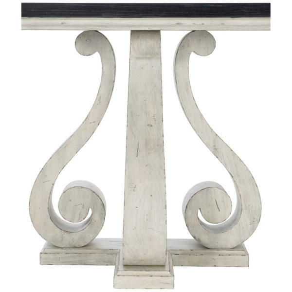Mirabella Console Table front pedestal view