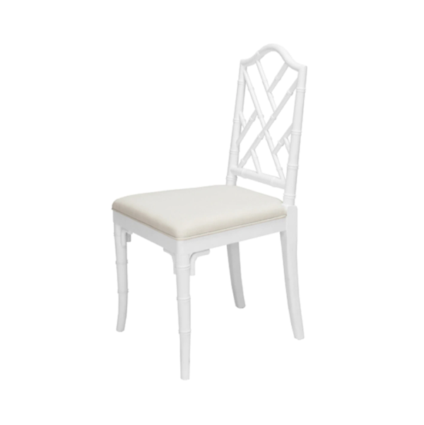White Chippendale chair angle view