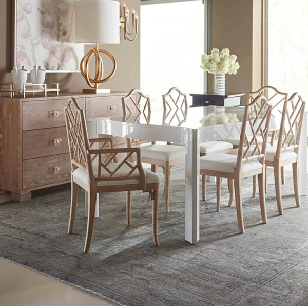 White Lacquer rectangular table lifestyle