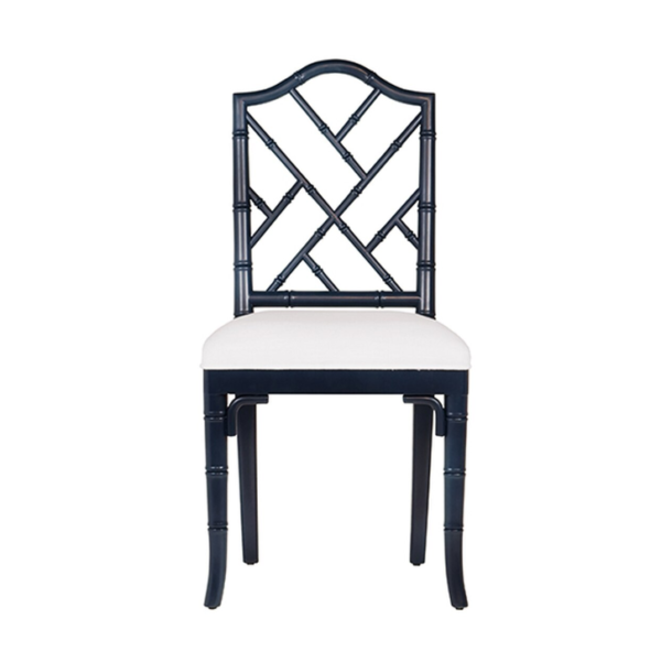 Navy Chippendale side chair front view