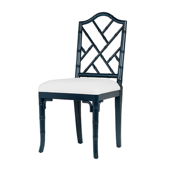 Navy Chippendale side chair angle view