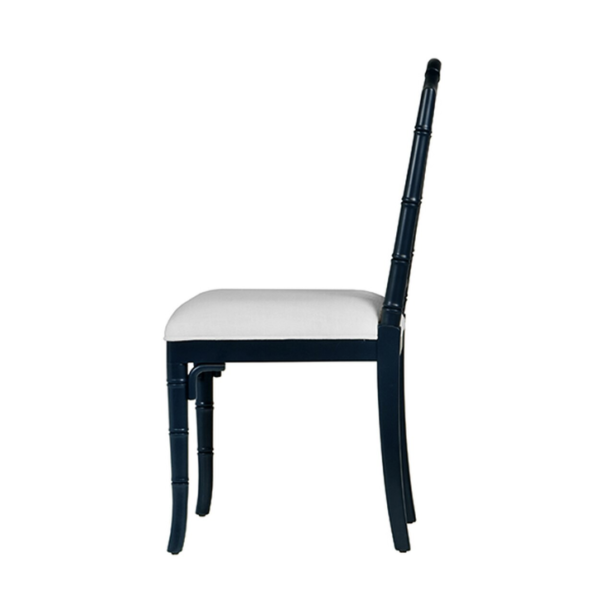 Navy Chippendale side chair side view