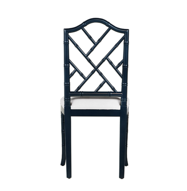 Navy Chippendale side chair backside