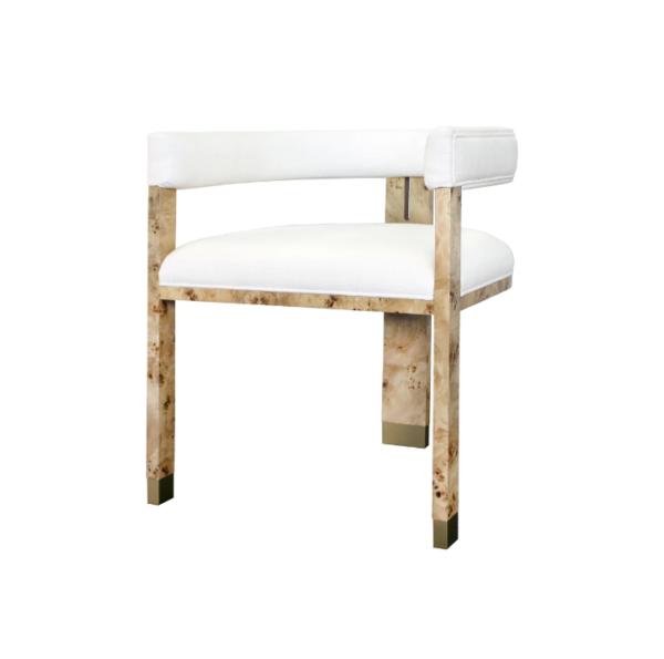 Light Burl wood chair angle view