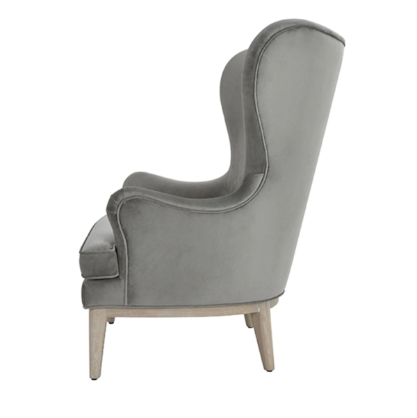 Frisco Grey wing chair side view